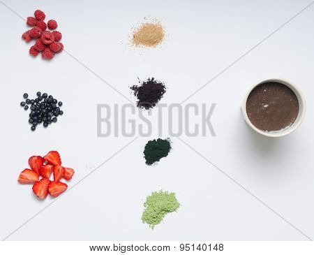 Healthy Food Set Of Acai Berry Smoothie