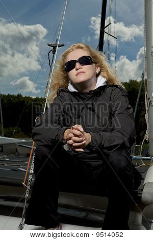 Serious Blond Female Sailor