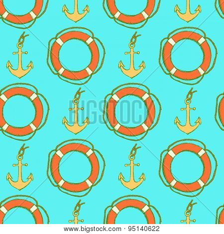 Sketch Life Bouy And Anchor In Vintage Style