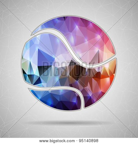 Abstract Creative concept vector icon of tennis ball for Web and Mobile Applications isolated on bac
