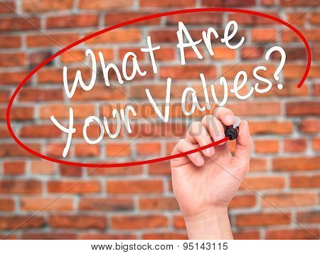 Man Hand writing What Are Your Values? with black marker on visual screen.
