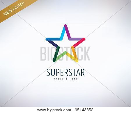 Star vector logo icon. Leader, winner, rank or competition and shine symbol. Stock design elements.