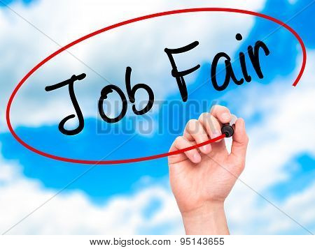 Man Hand writing Job Fair with black marker on visual screen.