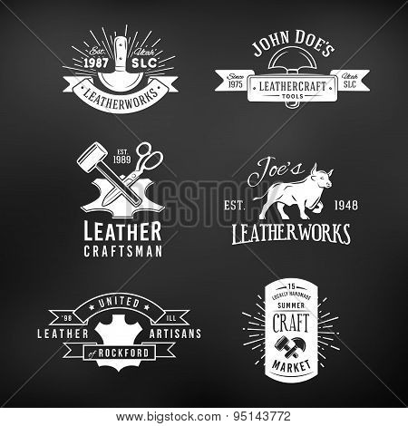 Set of vintage craft logo designs, retro genuine leather tool labels. artisans market insignia vecto