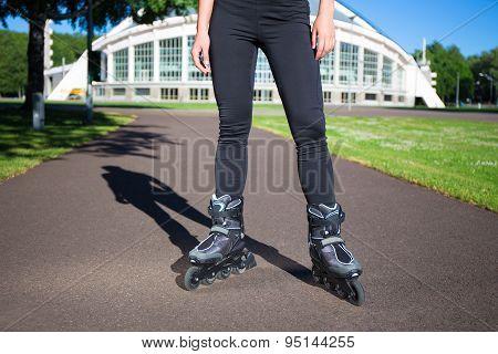 Inline Skates - Close Up Of Female Legs In Skates