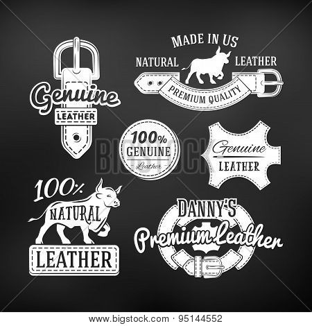Set of leather quality goods vector designs. Vintage belt logo, retro labels. genuine illustration o