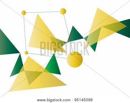 Green And Yellow Abstract Geometric Shape Vector Background With Spheres And Triangles On White