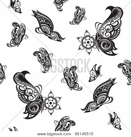 Background Of Abstract Butterflies With Ethnic Ornament
