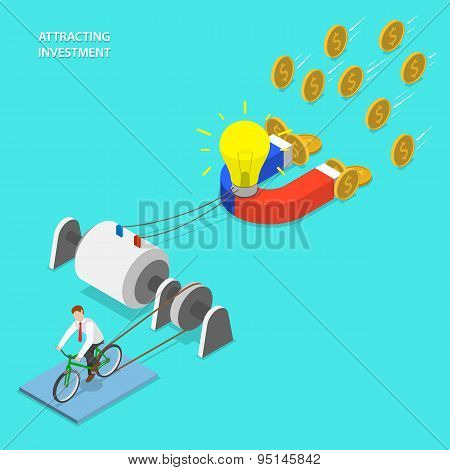 Investment attraction flat isometric vector.