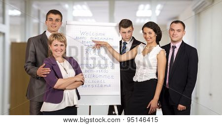 Corporate business trainers making presentation