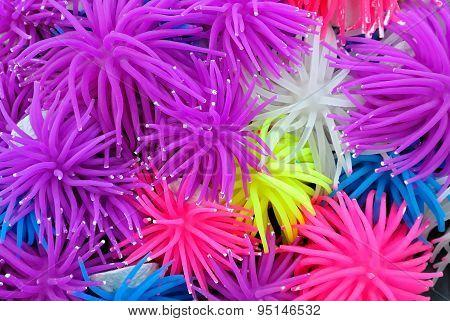 Background Of Multicolor Rubber Or Silicone Sea Anemone