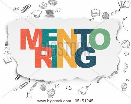 Education concept: Mentoring on Torn Paper background