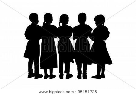 Children Standing Silhouettes Set 9