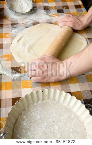 Sooking And Home Concept - Close Up Of Male Hands Kneading Dough On A Background In Cell