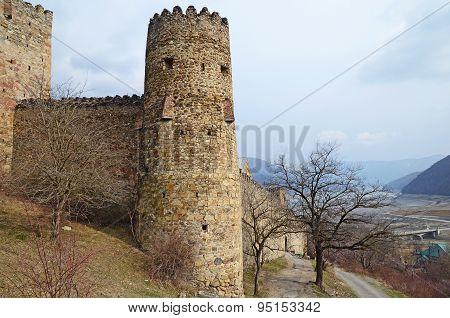Georgia,Zhinvali-March,1 2015:Round tower of Ananuri Castle. Georgia