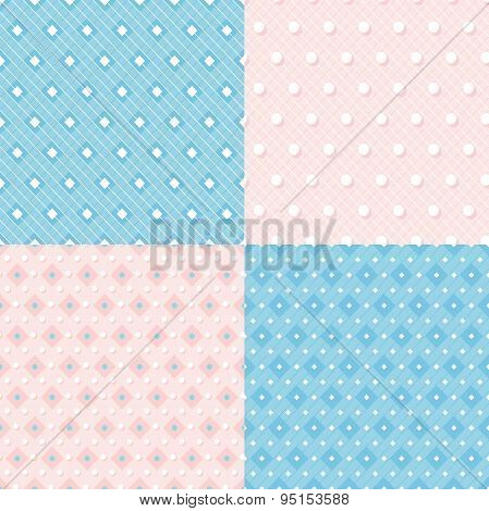Set Of Geometric Colorful Seamless Patterns