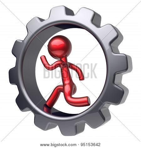 Man Character Stylized Red Cartoon Guy Run Inside Gearwheel