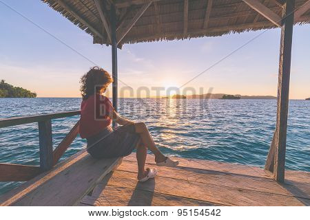 Tourist Watching Sunrise In Resort, Marsala Toned Image