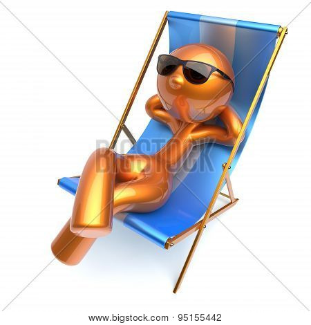 Man Relaxing Stylized Character Chilling Beach Deck Chair