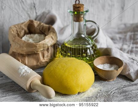 Dough To Make Homemade Pasta On A Light Wooden Background