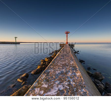 Industrial Landscape With Entrance To Harbour In Jastarnia