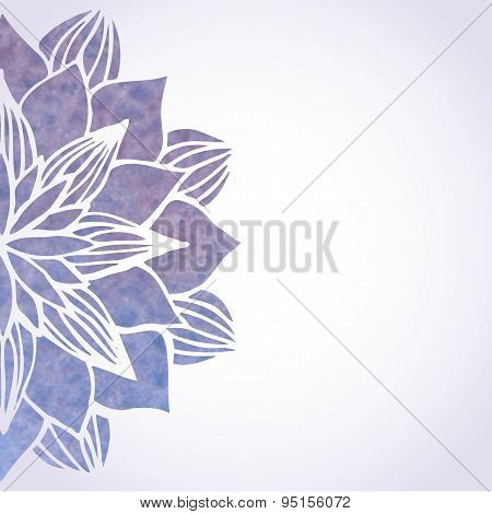 Illustration With Watercolor Violet Floral Pattern