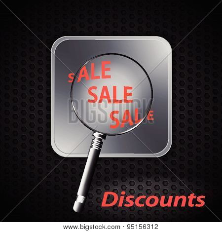 Sale Discount On Metallic Background