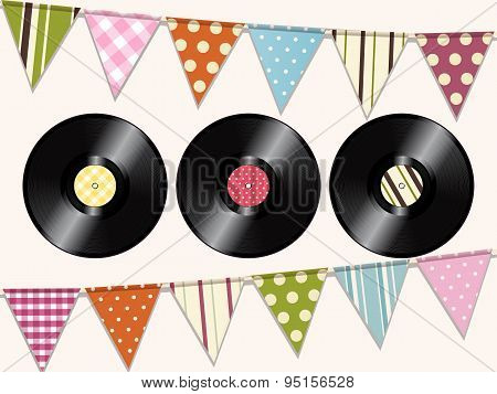 Vintage Vinyl Records And Bunting Background