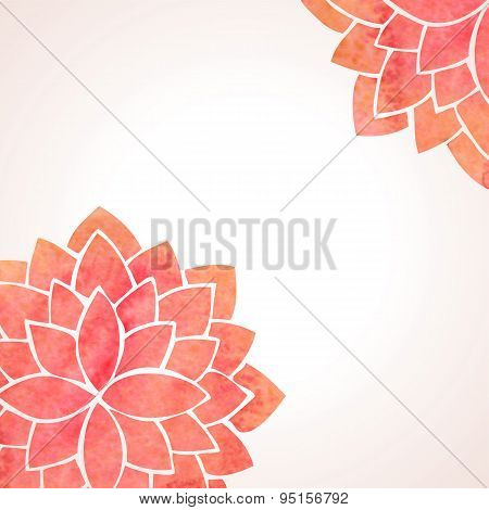 Watercolor Red Flower Patterns. Vector Background