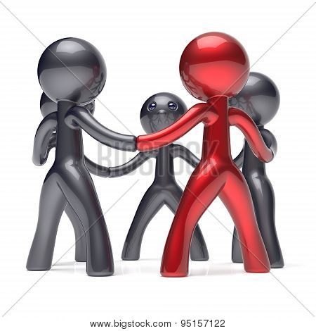 Teamwork People Social Network Circle Leadership Man Icon