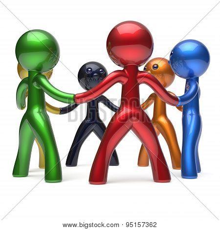 Teamwork Circle People Social Network Individuality Characters