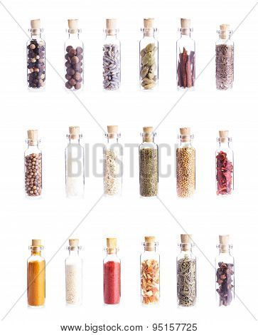 Mini bottles with spices