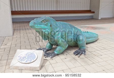 Sculpture Of Blue Iguana In George Town On Grand Cayman Island