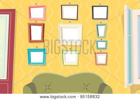 Vintage Cartoon Photo Picture Painting Drawing Frame Template Icon Set on Stylish Wall Apartment Liv