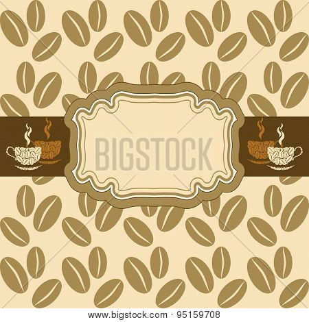 Light Background With Coffee Beans. Vignette With Space For Text.