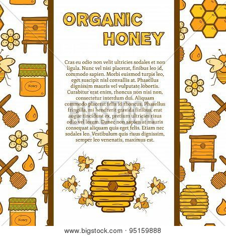 Vector template with cute cartoon hand drawn objects on beekeeping theme: bee, honey, flowers, bee h