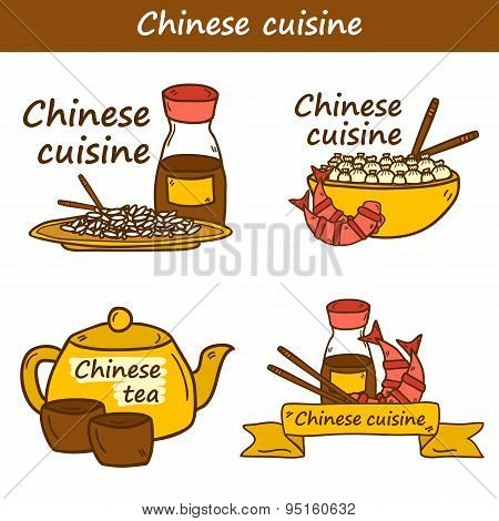 Set of templates with cute modern hand drawn cartoon objects on chinese food theme: rice, teapot, chinese pasta, soy sause, soup, chinese sticks, chinese dumpling, shrimp. Vector ethnic chinese cuisine concept. You can use it for site, restaurant menu