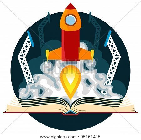 Sci-Fi Book with Rocket Launch