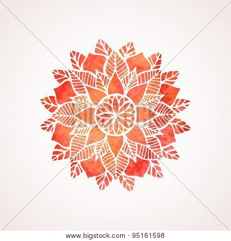Watercolor Red Lace Pattern. Vector Element. Mandala