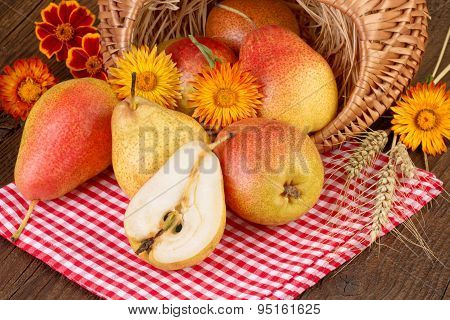 Pears Fruit on red checkered tablecloth