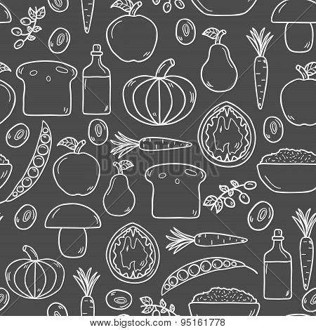Modern seamless vector background with objects in cute cartoon hand drawn style on vegan food theme
