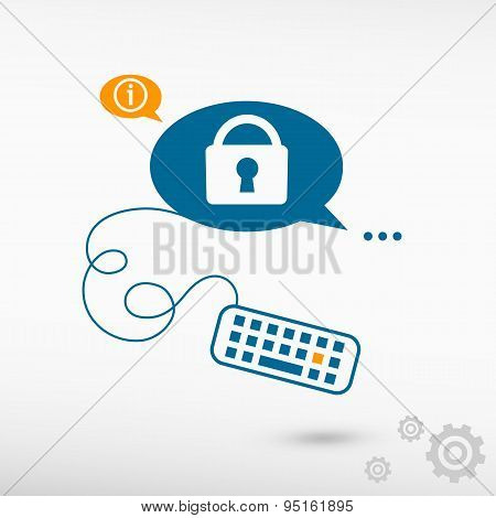 Vector Lock Icon And Keyboard On Chat Speech Bubbles.