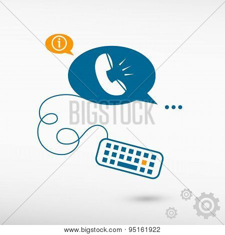 Telephone Receiver And Keyboard On Chat Speech Bubbles.