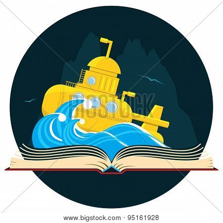 Sci-Fi Book with Submarine