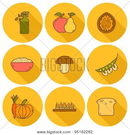 Set of modern icons with shadows in hand drawn style on vegan food theme
