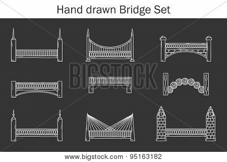 Set of simple cute cartoon outline black-white hand drawn bridge icons. City and travel concept