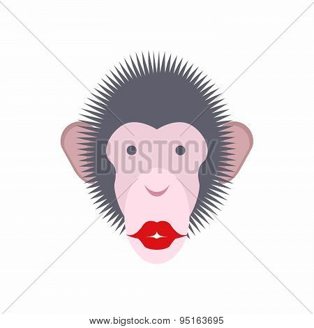 Monkey face with lips. Kiss of  animal. Vector illustration