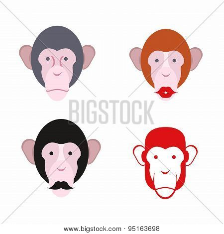 Set of facial monkey. Monkey with a mustache. various of animals. Vector illustration