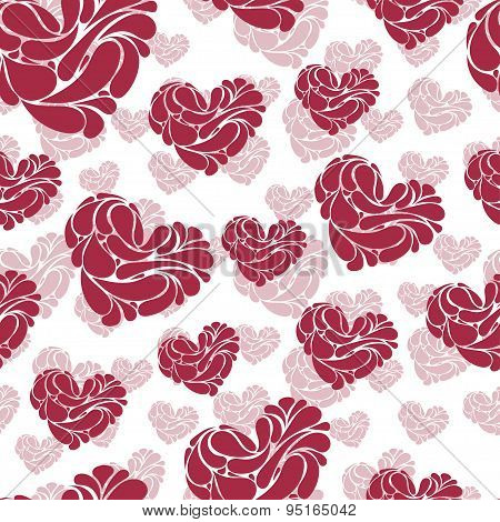 Awesome Romantic Seamless Pattern In Light Pastel Colors. Love Concept Background For Sweet Designs
