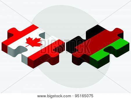 Canada And Afghanistan Flags In Puzzle